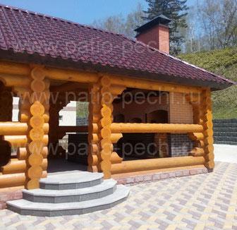 Обычная деревянная беседка с Элитнып печным комплексом Тандыром Мангалом печю под Казан и барбекю кухней до 40 человек
