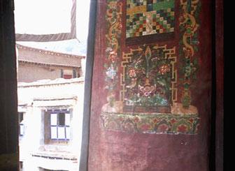 ein alte Wandbemalung im Kloster Sera