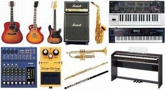 ギター、ベース、トランペット、サックス、アンプ、ミキサー、キーボード、シンセサイザー