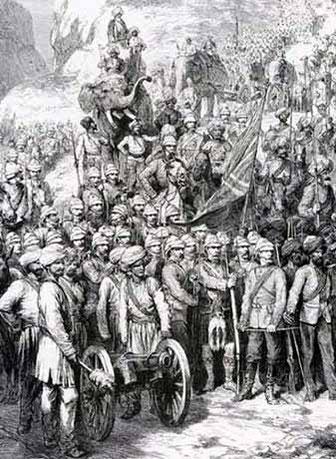 نیروهای بریتانیایی و سیک در کندهار ۱۸۸۰. حمایه توپچی در کندهار همواره نا مؤثر بودند و ثابت شد توپچی افغان بهتر از بریتانیایی مجهز اند.