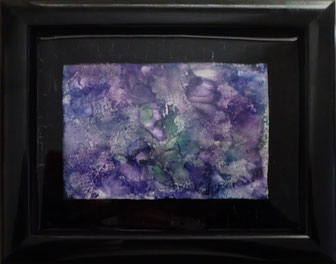 Untitled Purple - Resined Encaustic Wax Painting- by Anne Berendt