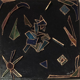 Abstract mixed media - Broken Coloured Glass on Canvas - by Anne Berendt