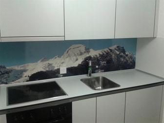 Küche mit Panorama-Rückwand