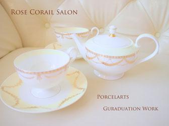 ポーセラーツ卒業制作:ガーランドの綺麗なティーセット