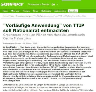 Zur Pressemitteilung Greenpeace - 16.01.2015