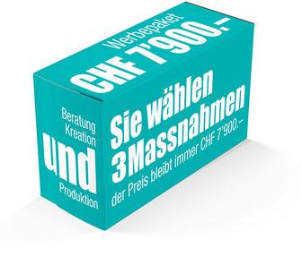 Vorteilhaftes Werbepaket für KMU, drei Massnahmen inkl. Produktion für nur CHF 7900.-