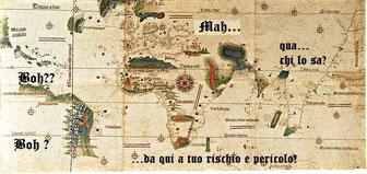 Mappa Africa. Le cartine del '500 non erano molto complete.