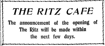 "The ""New"" Ritz Cafe, Shanghai 1921"