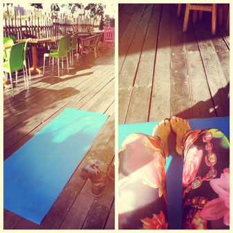 Relaxing Yoga on the roof top on my hostel in Mexico City.