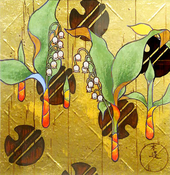 """""""Blessing and Rest """"    20.0 x 20.0 cm   Traditional Japanese Painting.   Framed.."""