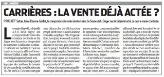 La République 1er octobre 2016 relate la vente des terres et foret d'Oloron à un carrier d'Alès : G. Costanzo en CM