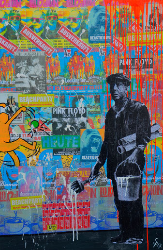 Plakatekleber, Plakatwand, Divo Santino, Pop Art, Collage, Musikfestival, Konzert, farebenfroh, Baywatch