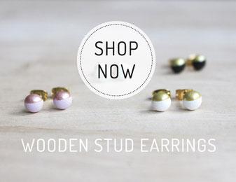 customizable wood earrings, handgefertigte Ohrstecker aus Holz
