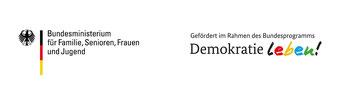 zweiteiliges Logo von dem Bundesministerium für Familie, Senioren, Frauen und Jugend und dem Demokratie Leben Logo.