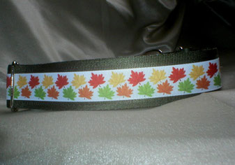 Zugstopp, Halsband, 4 cm, Gurtband olivgrün, Borte mit buntem Laub