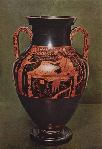 赤絵式のアンフォラ http://en.wikipedia.org/wiki/Pottery_of_ancient_Greece#mediaviewer/File:Athena_Herakles_Staatliche_Antikensammlungen_2301_A_full.jpg
