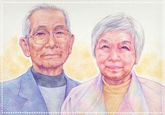 敬老の日 プレゼント 似顔絵 色鉛筆 写実 リアル