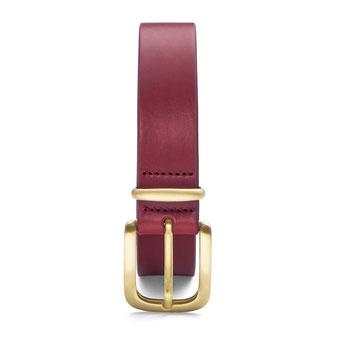 schmaler Damengürtel Leder in rot mit Schnalle und Schlaufe in gold