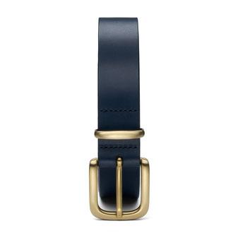 schmaler Damengürtel Leder in blau mit Schnalle und Schlaufe in silber