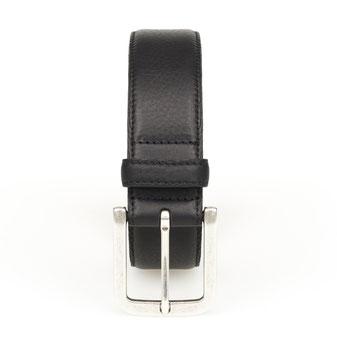 dicker Herrengürtel Leder genäht in schwarz mit Schnalle in silber