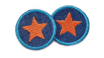 Bild: Mini Jeansflicken Stern orange gestickt, Hosenflicken zum aufbügeln