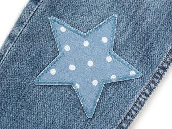 Bild: Stern Flicken zum aufbügeln mit Punkten, jeansblauer Stern Bügelflicken Hosenflicken