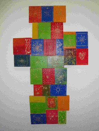 Kreuz aus Holzdruckstöcken, Faks Regensburg, Jesus der Morgenstern
