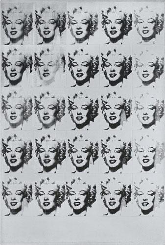 A.Warhol.Marilyn Monroe en blanco y negro.Estocolmo. Tras su trágica muerte decidió hacer esta serigrafia de su bello rostro que capta su gesto característico y típico peinado ondulado de la estrella mítica.