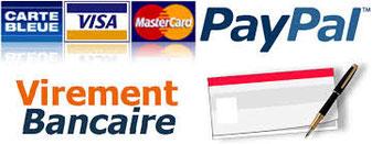 Paiement par chèque, virement ou CB via PayPal.