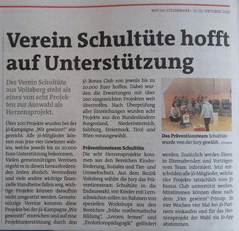 22.10.2020: Die Woche berichtet von der Nominierung des Vereins Schultüte bei den Herzensprojekten und informiert zum Voting.