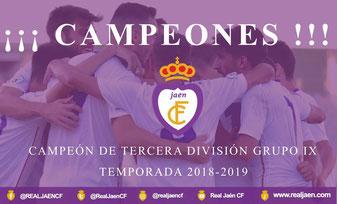Real Jaén Campeones Tercera Division Grupo IX 2018-19