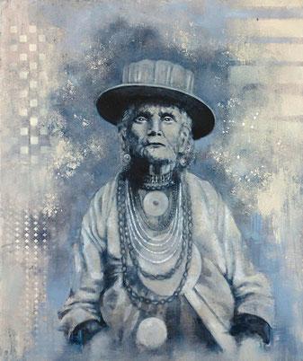 THE LADY - 2017- acrylique et huile sur toile - 55x46 cm