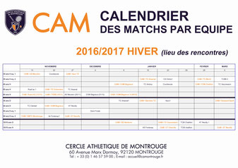 Calendrier des Matchs par Equipe Hiver