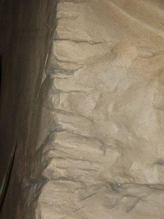 Detail: modellierter Felsen