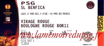 Ticket  PSG-Benfica  2010-11