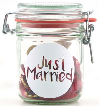 Geldgeschenk Gutscheinverpackung Just Married