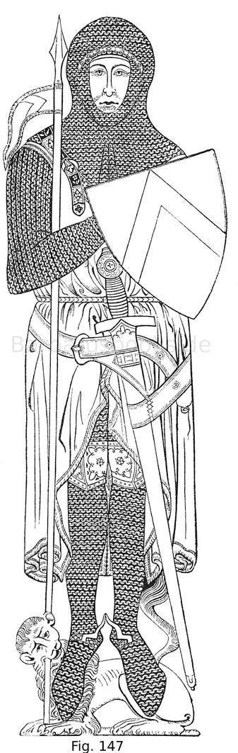 Fig. 147. Grabrelief, in Kupfer gegossen, des Sir Johan D'Aubernoun Ritter, in der Kirche von Stoke D'Abernon in der Grafschaft Surrey vom Jahr 1277. Das älteste Beispiel eines Grabsteines mit bildlicher Darstellung des Verstorbenen. Nach Schultz.