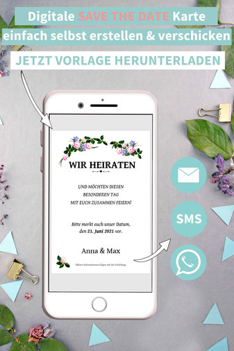 Boho, vintage, floral, Blumenranke, Save the date, digitale, Handy, selber machen, Vorlage, Whatsapp, elektronische, Hochzeit ankündigen, Hochzeitskarte, Druckvorlage, basteln