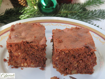 Brownies mit Nüssen, Konditor-Rezept by Daninas Dad. Traditonelle amerikanische Weihnachtsbäckerei.