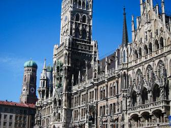 La façade gothique du nouvel hôtel de Ville de Munich