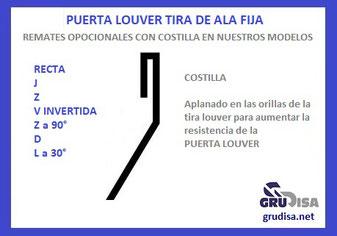 PUERTA LOUVER (TIRA DE ALA FIJA) V INVERTIDA OPCIONALMENTE CON COSTILLA EN AMBAS ORILLAS ORILLAS (REMATES)