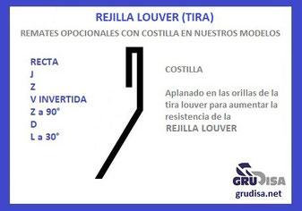 Rejilla Louver Recta (tira) puede ser procesada con o sin COSTILLA