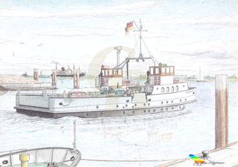 Fährschiff WISCHHAFEN (II) 1952, bei auslaufen aus Glückstadft. Zeichnung K. H. Brüggmann