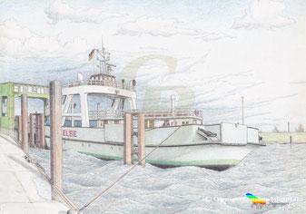 Die Fähre Elbe am Anleger im Glückstädter Hafen. Zeichnung K. H. Brüggmann