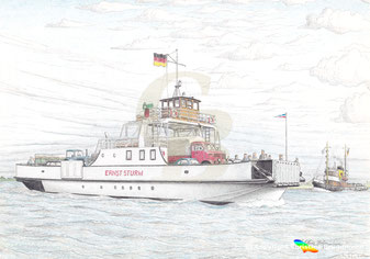 Die 1954 in Dienst gestellte 1. ERNST STURM, Zeichnung K. H. Brüggmann