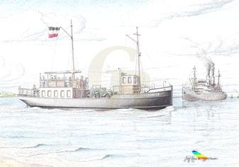 Die von Dietrich Maler ab eingesetzte Fähre KEHDINGEN, Zeichnung K. H. Brüggmann