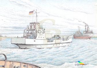Die 1951 nur kurz in Dienst befindliche Fähre WISCHHAFEN (I). ZEICHNUNG K. H. Brüggmann