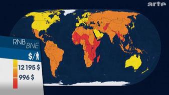 Les cartes de l'économie mondiale (Dessous des cartes, novembre 2011, DR).