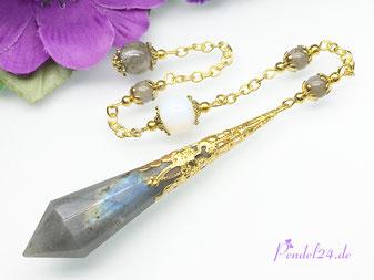 Luxuspendel, Pendel24.de, Pendel, Pendel kaufen, Amethyst, Edelstein-Pendel, goldfarbene Spitze, Handarbeit, Unikat, Edelsteinperlen, Kristallperlen,