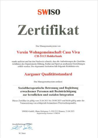 SWISO Zertifikat für Verein Wohngemeinschaft Casa Viva, Holderbank